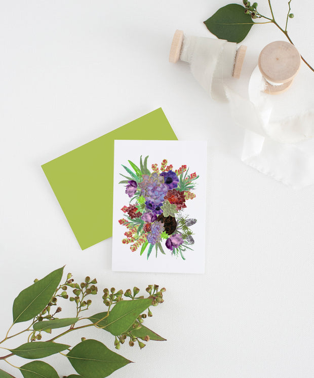 succulants and flowers greeting card 1
