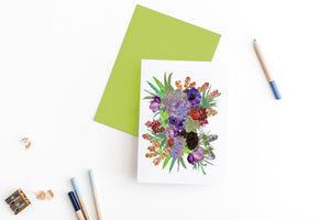 succulants and flowers greeting card
