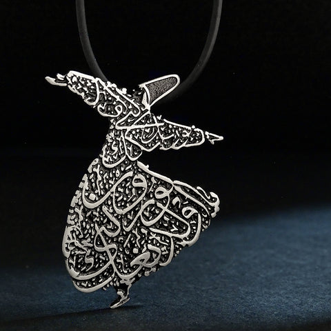"Whirling Dervish Necklace ""Appear as you are. Be as you appear"" Rumi Poetry Quote 925 Silver Islamic Jewelry Eid Gift"