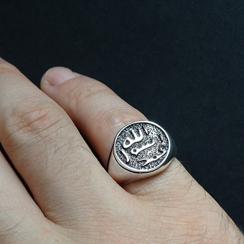 Men's Pinky Ring 925 Sterling Silver Arabic Calligraphy Ring Seal of Muhammad Islamic Jewelry