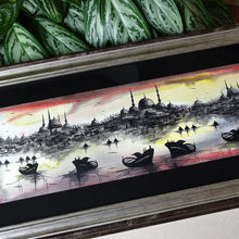 "Turkish Art ""Istanbul"" ORIGINAL PAINTING, Muslim Art Silver Frame, Islam Traditional Wall Art, Islamic Wall Ornaments, Muslim Housewarming Gifts"
