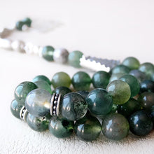925 STERLING SILVER 33 Prayer Green Moss Agate Beads Muslim Tasbeeh Islamic - islamicartstore.com