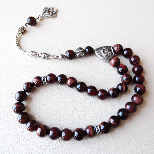 Red Tigers Eye 925 SILVER 33 Prayer Beads Muslim Personalized Tasbih Misbaha - islamicartstore.com