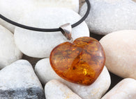 Real Natural Baltic Amber Heart Pendant with Silver loop 925 Sterling Silver