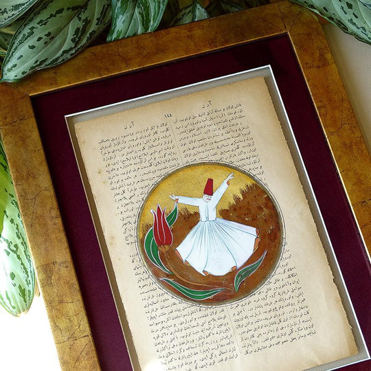 Rumi ORIGINAL Miniature Painting, Mevlana Turkish Wall Art Gold Frame, Vintage Islam Wall Decor Red, Muslim Artwork, Sufi Religious Gift