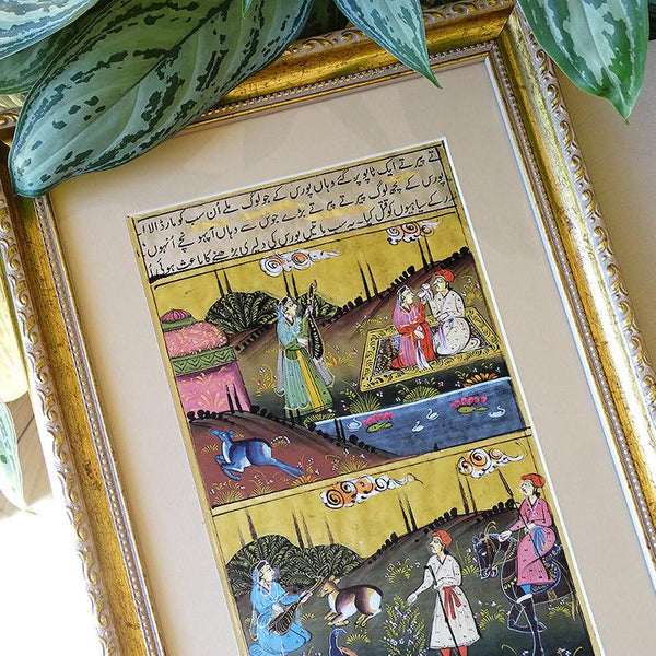 Turkish Miniature Frame Wall Art Gold, Ottoman Miniature Art, ORIGINAL Oriental Painting Housewarming Gift for Home Decor, Turkish Artwork