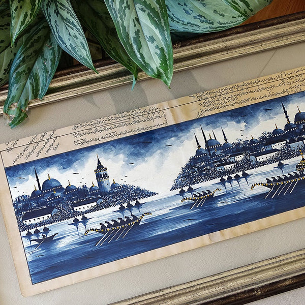 "Islam Wall Frame Art ""Istanbul"" ORIGINAL Painting, Turkey wall Art, Islam Birthday Gift, Turkish Painting Blue, Turkish Wall Decor Silver"