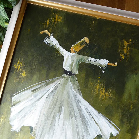 Whirling Dervish Art, ORIGINAL Canvas Art, Islamic Art Oil Painting FRAMED, Sufi Wall Art, Islamic Canvas Wall Decor, Islamic Gifts