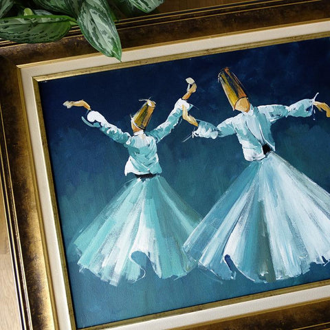 Whirling Dervish Art, ORIGINAL Canvas Art Blue, Islamic Art Oil Painting Framed, Large Wall Art, Islamic Canvas Wall Decor, Islamic Gifts