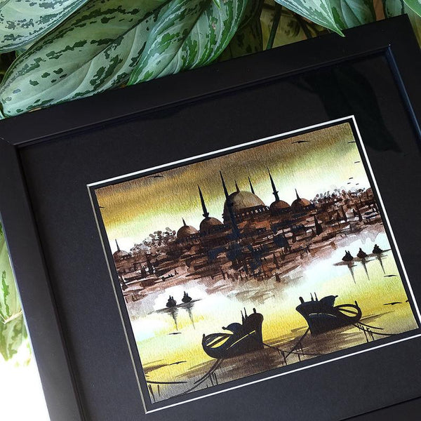 "Turkish Painting ORIGINAL Art ""Istanbul cityscape"" Islamic Wall Art Home Decor, Modern Style Wall Decor Black, New Home Housewarming Gift"