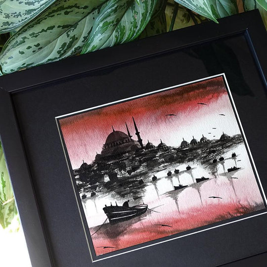 "Turkish Art ORIGINAL Painting ""Istanbul Bosporus"" Turkish Art Craft, Modern Turkish Wall Decor Red, Turkish Housewarming Gift, Islamic decor"