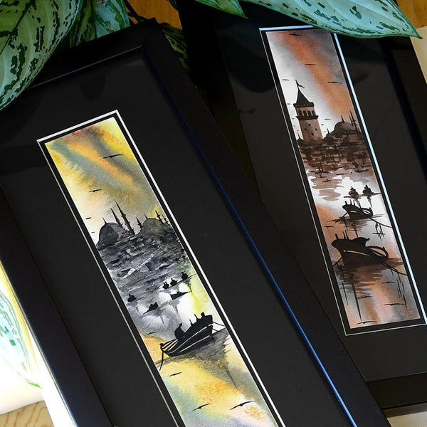 "Islamic Wall Art Set, Turkish Gift ""Istanbul cityscape"" Modern Turkish Artwork, Islamic Wall Decor Black Frame, ORIGINAL Turkish Painting"
