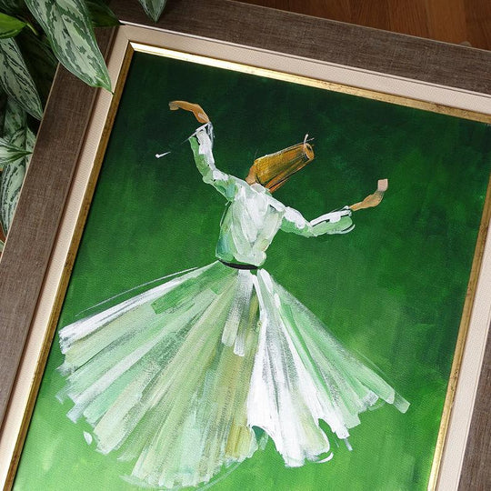 Oil Painting on Canvas 50x 60 cm Whirling Dervish Wall Frame, ORIGINAL Canvas Wall Art, Islam Sufi Wall Art Green, Islamic Wedding Gift