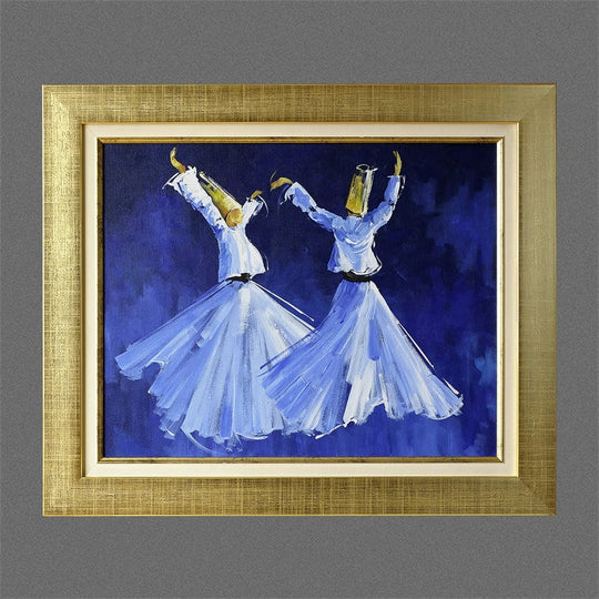 Islamic Gift ORIGINAL Oil Painting Framed, Islamic Canvas Wall Art, Islamic Canvas Painting Blue, Whirling Dervish Muslim Canvas Home Decor