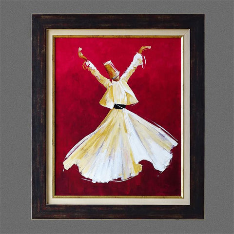 "ORIGINAL Canvas Wall Art 21x 25"" Whirling Dervish Oil Painting Red Black Frame, Islamic Gifts, Islam Canvas Living Room Wall Decor, Sufi Art"