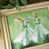 Islam Oil Painting on Canvas 55x 65cm, Whirling Dervish ORIGINAL Canvas Wall Art, Islam Wall Art Green, Sufi Wall Frame, Islam Wedding Gifts
