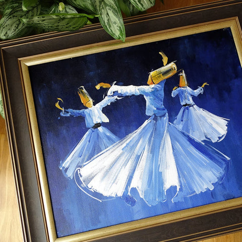 Islamic Painting ORIGINAL Whirling Dervish Art Framed, Sufi Islamic Gift, Islam Oil Painting on Canvas Blue, Living Room Religious Wall Art