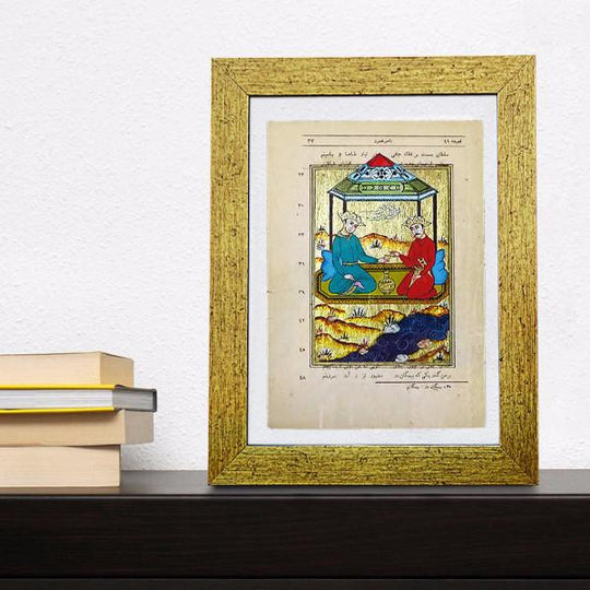 Ottoman Miniature Painting, Original Fine Miniature Art, Gold Painting with Frame, Book Page Art, Gift for Men, Muslim Art, framed artwork - islamicartstore.com