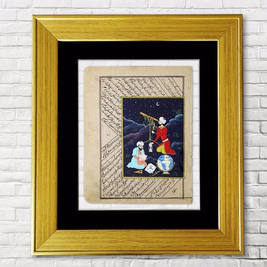 Turkish Miniature ORIGINAL PAINTING, Antique Miniature Art, Ottoman Painting, Watercolor Fine Painting, Gold Framed Wall Art, office gift - islamicartstore.com