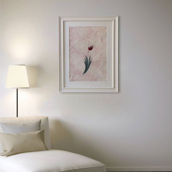 ORIGINAL FRAMED Pink Ebru Painting, Turkish Marbling Art, Tulip on Hand Marbled Paper, Floral Wall Art, Large Painting, Vintage Gift for her - islamicartstore.com