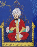 Miniature Painting Sultan on Throne, ORIGINAL WALL ART, Ottoman Painting, Islamic Artwork, Gold Foil Art, Manuscript Painting, office gift - islamicartstore.com