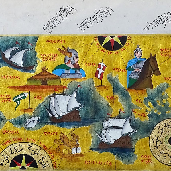 GOLD FOIL PAINTING Map of Viking Invasion, Old Map Miniature Painting, Viking Wall Art, Ottoman Painting, Islamic Art Framed, office gift - islamicartstore.com