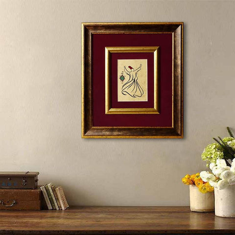 Sufi Spinning Dervish Black Ink Drawing with Double Bronze Frames, Mevlana Sufi Prayer, Spiritual Art, Rumi Painting, Islamic Wall Art - islamicartstore.com