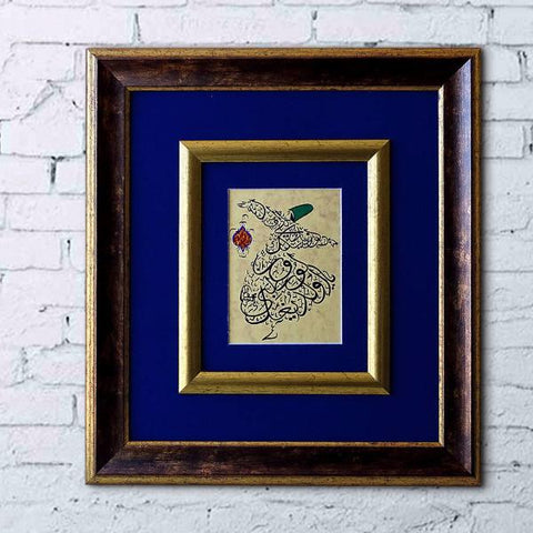 ORIGINAL CALLIGRAPHY Rumi Poem Quote Drawing Whirling Dervish, Mevlana Sufi Prayer Turkish Dancer Semazen, Islamic Art, framed painting - islamicartstore.com