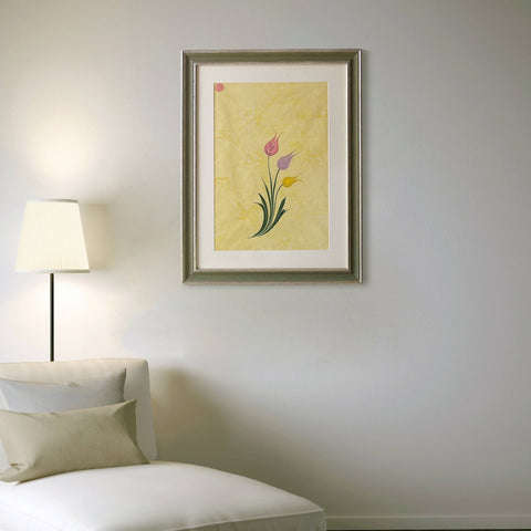 "FRAMED Marbling Painting 20""x25"", Original Fine Art, Ebru Painting, Tulips on Yellow, Hand Marbled Paper, Unique Wall Decor, Large Wall Art - islamicartstore.com"