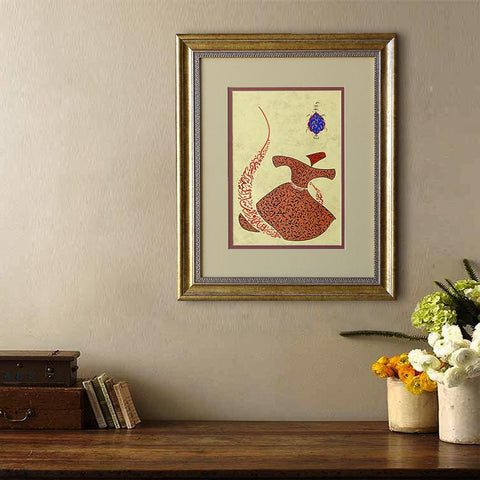 Islamic Art, Rumi Love Poem Quote Wall Art, Whirling Dervish Calligraphy Painting, Turkish Art, Islamic Painting Framed, Sufi Wall Art - islamicartstore.com