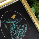 Calligraphy Painting Whirling Dervish, ORIGINAL Islamic Art Gold and Teal Modern Painting Framed, Islamic Gift, Islamic Wall Decoration - islamicartstore.com