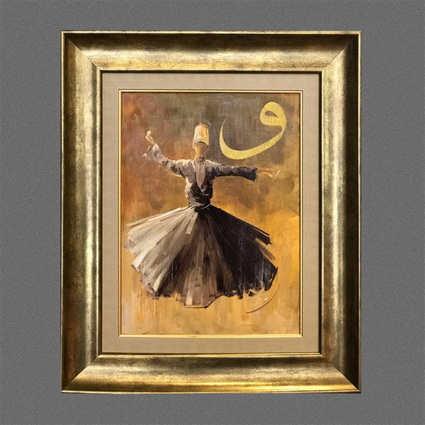Islamic Canvas Art, ORIGINAL Islamic Oil Painting Living Room Wall Art, Islamic Art FRAMED, Whirling Dervish Wall Decor, Islamic Gift Ideas