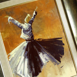 Large Oil Painting on Canvas, Whirling Dervish ORIGINAL Canvas Wall Art, Islamic Vintage Style Wall Art FRAMED, Islamic Wedding Gifts