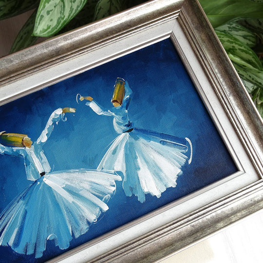 "ORIGINAL Canvas Wall Art 20x 15"", Whirling Dervishes Oil Painting, Islamic Gifts, Blue Silver Painting, Living Room Canvas Islam Wall Decor"