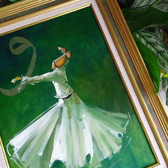 Oil Painting on Canvas 40x 50 cm Whirling Dervish Wall Frame, ORIGINAL Canvas Wall Art, Islamic Vintage Style Wall Art, Islamic Wedding Gift
