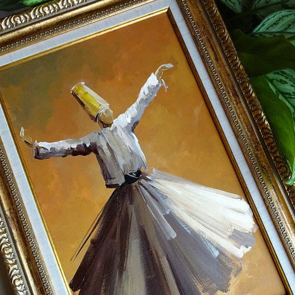 Islamic Canvas Wall Decor ORIGINAL Oil Painting Framed, Whirling Dervish Canvas Art Yellow, Islamic Gift, Sufi Wall Art, Islamic Decor