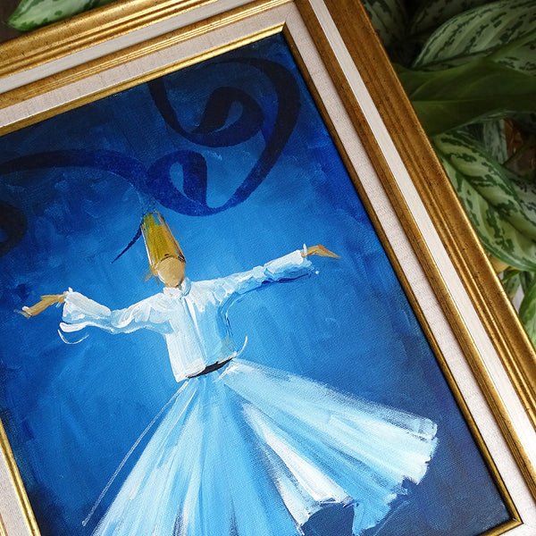 Canvas Oil Painting ORIGINAL Canvas Wall Decor, Whirling Dervish Wall Art, Islamic Sufi Painting Blue, Modern Islamic Home Decor Gifts