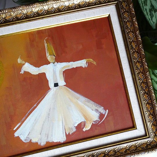 Sufi Whirling ORIGINAL Canvas Wall Art, Islamic Canvas Whirling Dervish Oil Painting, Modern Islamic Wall Decor, Religious Islamic Gift