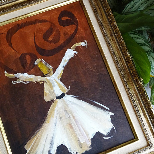 Islamic Canvas ORIGINAL Painting, Muslim Gift, Whirling Dervish Wall Art, Muslim Wall Decor, Muslim Oil Painting on Canvas, Muslim Art