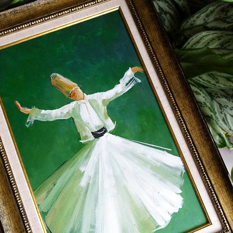 Islamic Painting ORIGINAL, Islamic Gift, Whirling Dervish Art Framed, Islamic Green Oil Painting on Canvas, Living Room Religious Wall Art