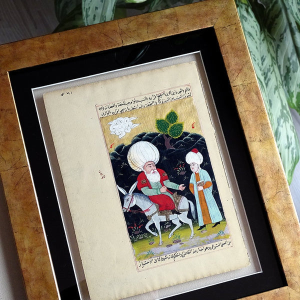 Nasreddin Hodja Turkish Miniature Frame Wall Art, Ottoman Miniature Art, ORIGINAL Oriental Painting Housewarming Gift for Home Decor