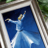 "ORIGINAL Canvas Wall Art 20x 15"", Whirling Dervish Oil Painting, Islamic Gifts, Blue Silver Painting, Living Room Canvas Islam Wall Decor"