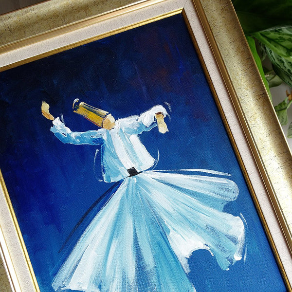 "* This artwork is the original hand-painting! * Materials used: oil paints and canvas * Framed format: 16.5"" x 20.5"" (42cm x 52cm) * Canvas framed in the new frame (no glass) * The painting will be shipped framed as shown on the photo  Sufi whirling (or Sufi spinning) is a form of physically active meditation which originated among Sufis, and which is still practiced by the Sufi Dervishes of the Mevlevi order. It is a meditation practice performed within the worship ceremony, through which dervishes (also c"