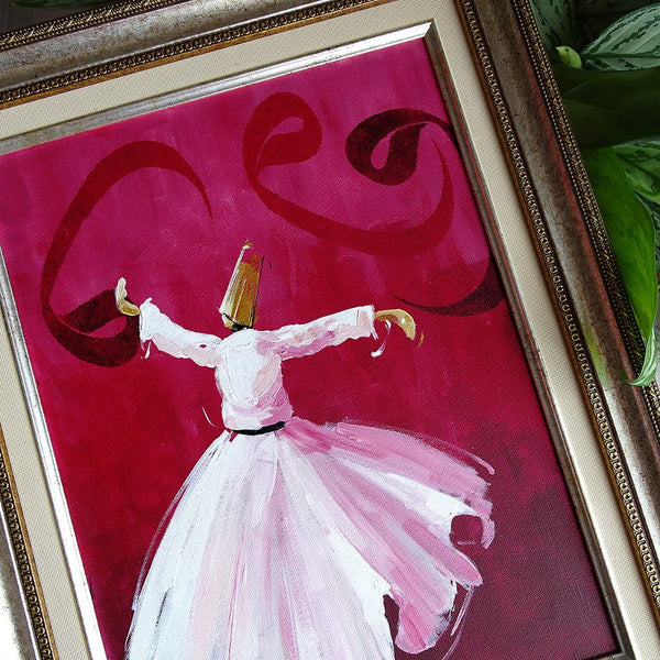 "Oil Painting 15x 20"" ORIGINAL Canvas Wall Art, Whirling Dervish Wall Decor, Mevlana Wall Art, Semazen Home Decor, Muslim Art, Islam Painting"