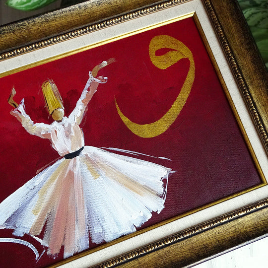 Canvas Art ORIGINAL Painting Red, Islamic Gift, Whirling Dervish Oil Painting, Sufi Art Wall Hanging, Islamic Canvas Decor, Turkish Wall Art
