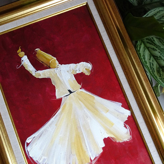 Canvas Wall Decor Red, ORIGINAL Oil Painting Framed, Traditional Islamic Canvas Painting, Whirling Dervish Canvas Art, Islamic Gift for Man