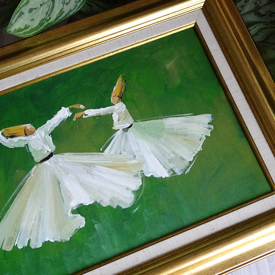 Islamic Gift ORIGINAL Oil Painting Framed, Islamic Canvas Wall Art, Islamic Canvas Painting Green, Whirling Dervish Muslim Canvas Home Decor