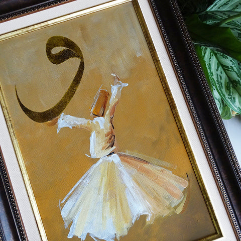 ORIGINAL Islamic Oil Painting, Whirling Dervish Islamic Canvas Wall Decor, Religious Canvas Painting Framed, Muslim Wall Art, Islamic Gifts