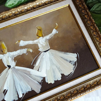 Islamic Art on Canvas Stretched Painting, Whirling Dervish Wall Art, Gift for Muslim, Modern Wall Canvas Framed, Islamic Oil Painting