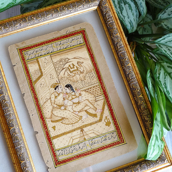 Persian Romantic Painting ORIGINAL Turkish Miniature Wall Art, Islamic Fine Art Gift for Her, Islamic Vintage Painting Framed
